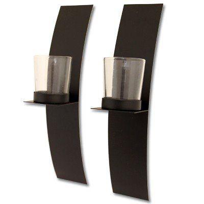 wand kerzenhalter 2er set schwarz teelicht wandkerzenhalter metall 2 st ck ebay. Black Bedroom Furniture Sets. Home Design Ideas