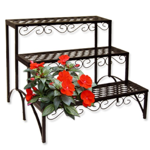 blumentreppe eckig blumenregal blumenbank pflanzentreppe garten regal 3 stufen ebay. Black Bedroom Furniture Sets. Home Design Ideas