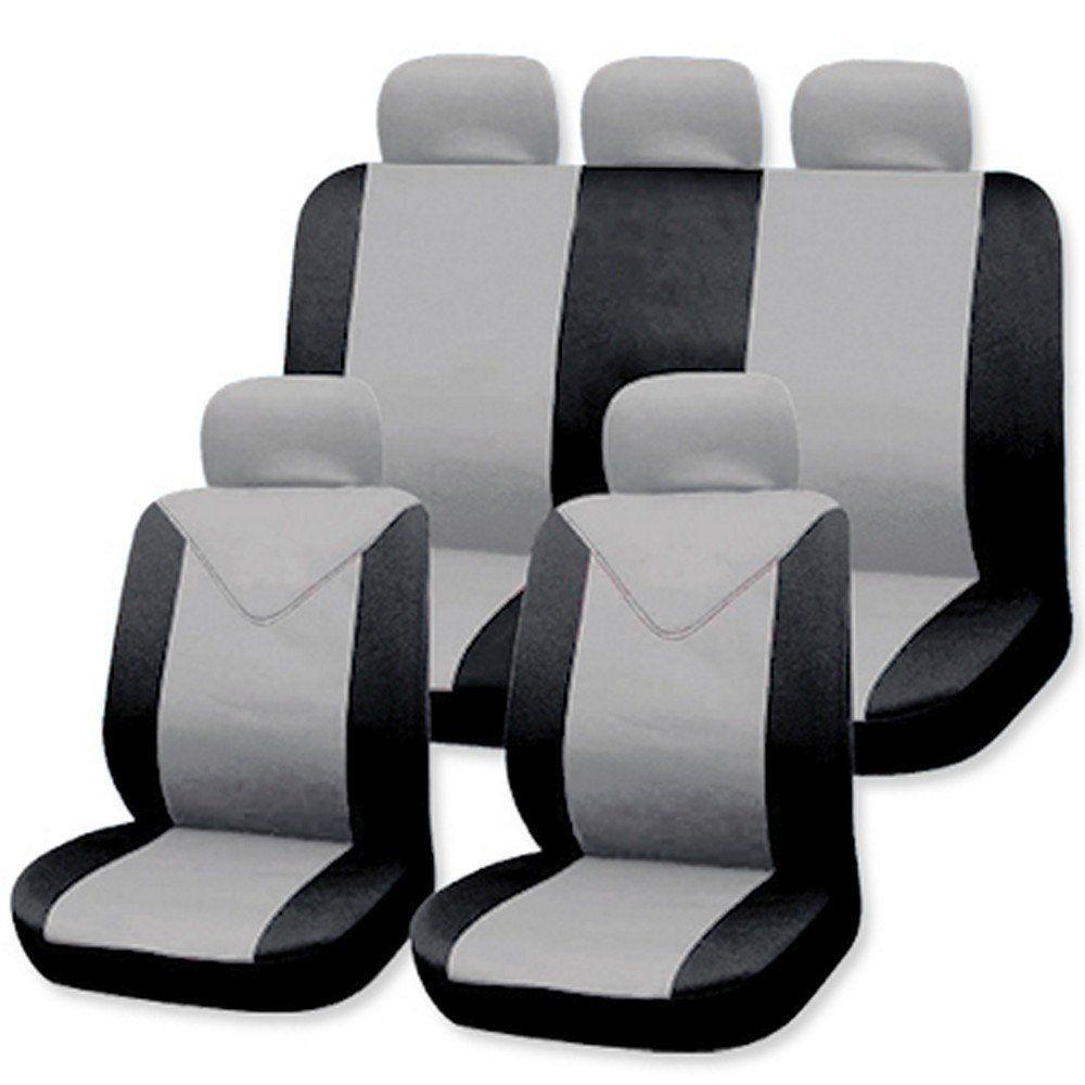 sitzbez ge grau komplettset universal auto sitzbezug schonbez ge schonbezug ebay. Black Bedroom Furniture Sets. Home Design Ideas