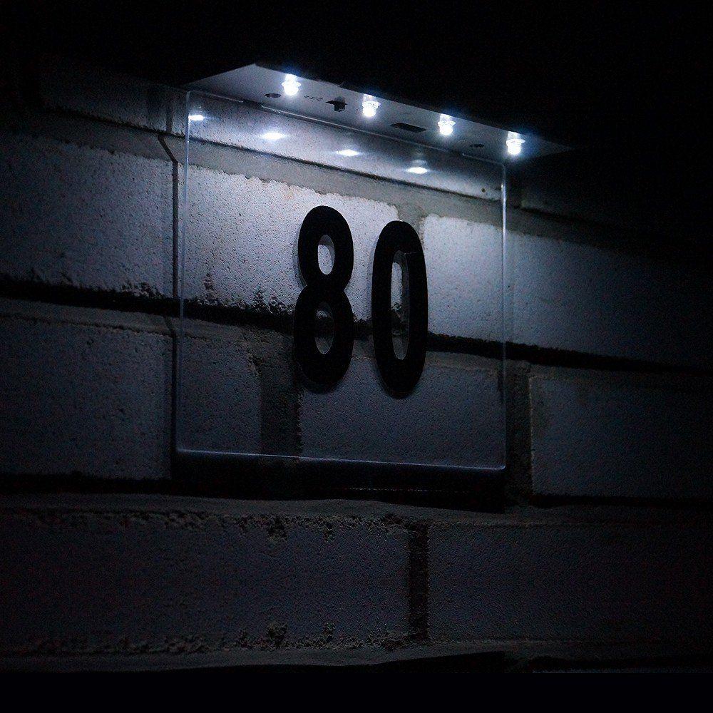 solar edelstahl wandlampe hausnummer beleuchtet. Black Bedroom Furniture Sets. Home Design Ideas