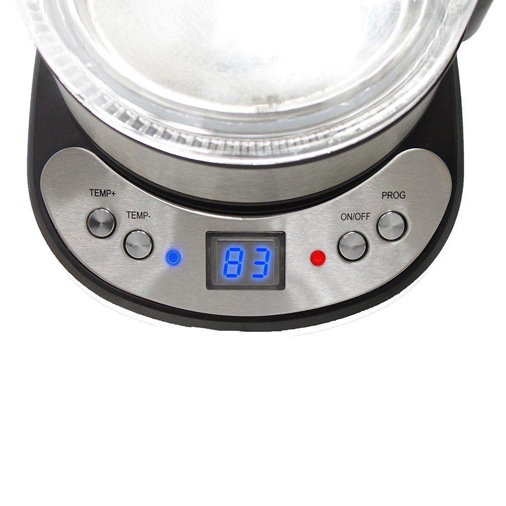 grafner glas edelstahl led wasserkocher temperaturwahl 2200 watt mit video 1 7 l ebay. Black Bedroom Furniture Sets. Home Design Ideas