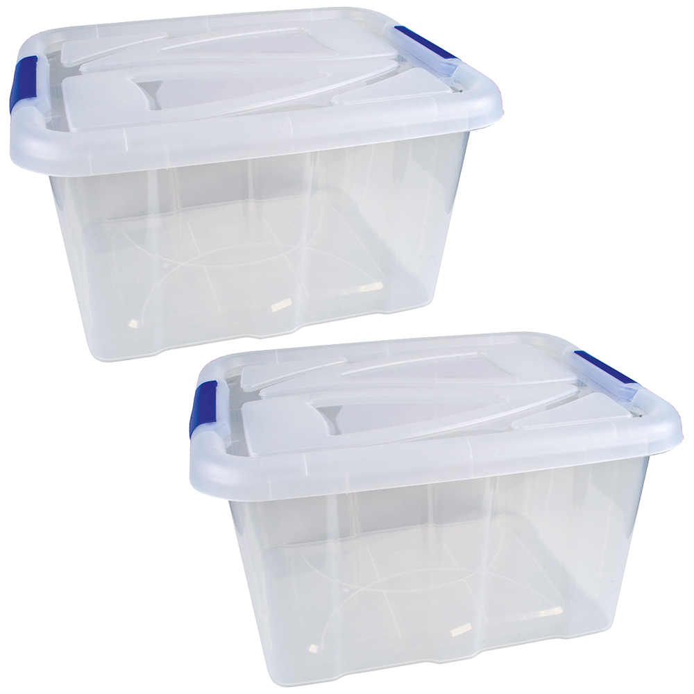 2er set stapelbox transparent mit deckel 30 liter aufbewahrungsbox box stapelbar ebay. Black Bedroom Furniture Sets. Home Design Ideas