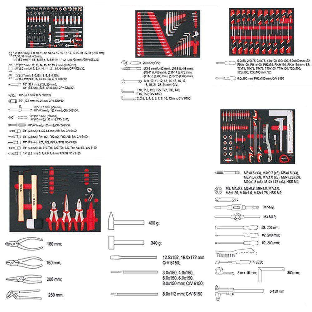 yato werkzeugwagen hochwertiges 211tlg werkzeug. Black Bedroom Furniture Sets. Home Design Ideas