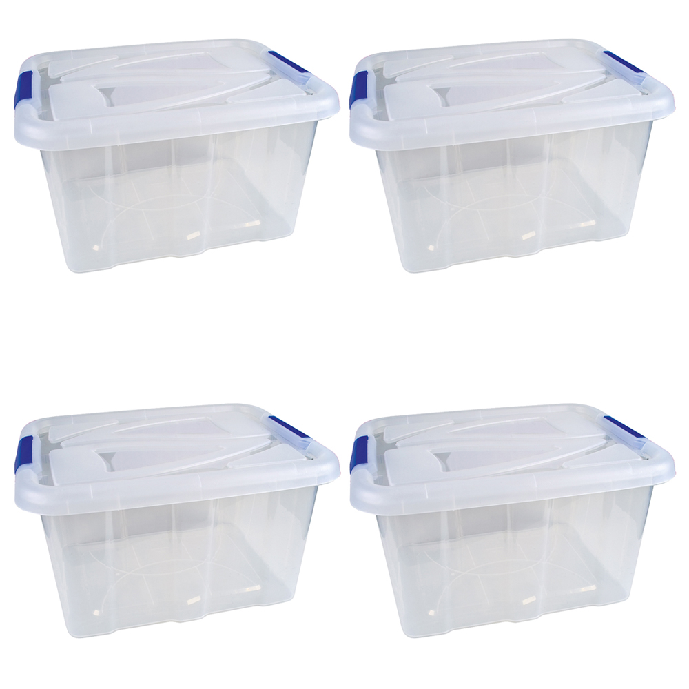 4er set stapelbox transparent mit deckel 30 liter aufbewahrungsbox box stapelbar. Black Bedroom Furniture Sets. Home Design Ideas