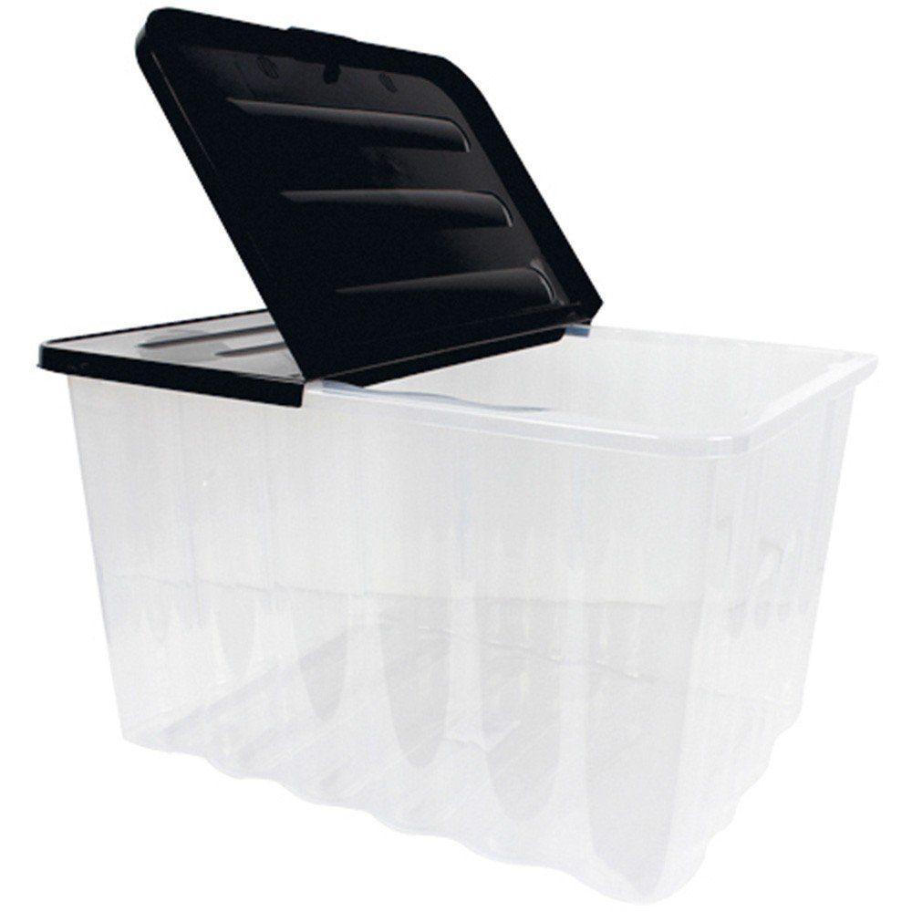 wave aufbewahrungs box mit klappbarem deckel 10l schwarz transparent stapelbar ebay. Black Bedroom Furniture Sets. Home Design Ideas