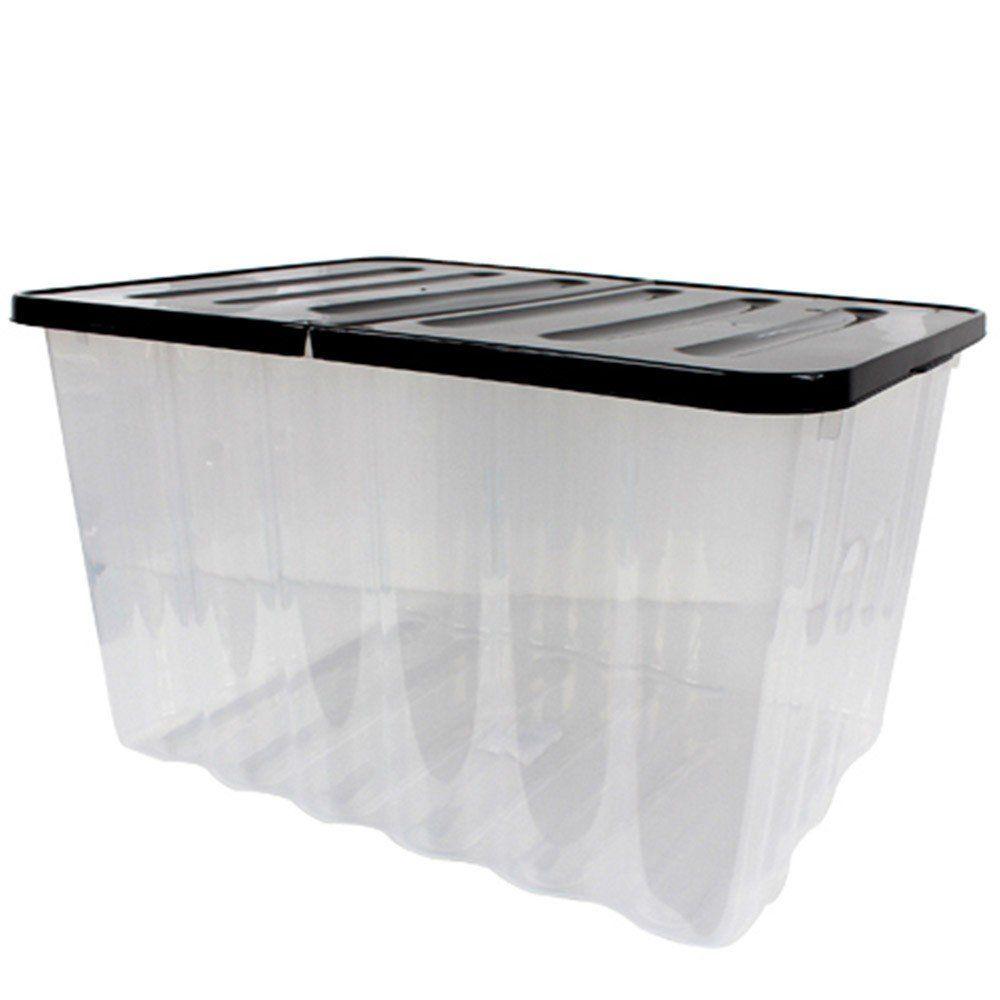 wave aufbewahrungs box mit klappbarem deckel 28l schwarz transparent stapelbar ebay. Black Bedroom Furniture Sets. Home Design Ideas