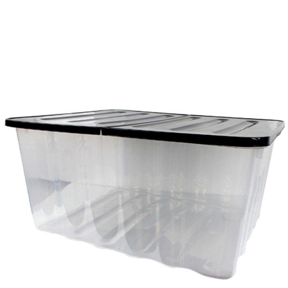 wave aufbewahrungs box mit klappbarem deckel 48l schwarz transparent stapelbar. Black Bedroom Furniture Sets. Home Design Ideas