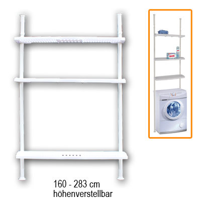 waschmaschinenregal h henverstellbar badregal standregal teleskopregal regal ebay. Black Bedroom Furniture Sets. Home Design Ideas