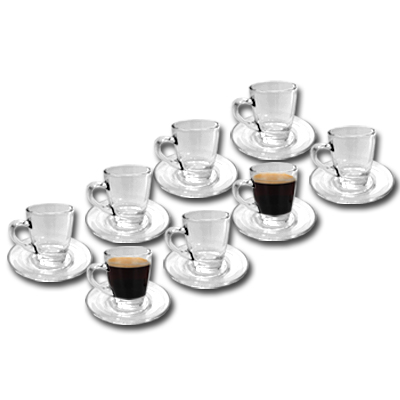 8er set pack espressotassen glas rastal glastassen espresso tasse untertassen ebay. Black Bedroom Furniture Sets. Home Design Ideas