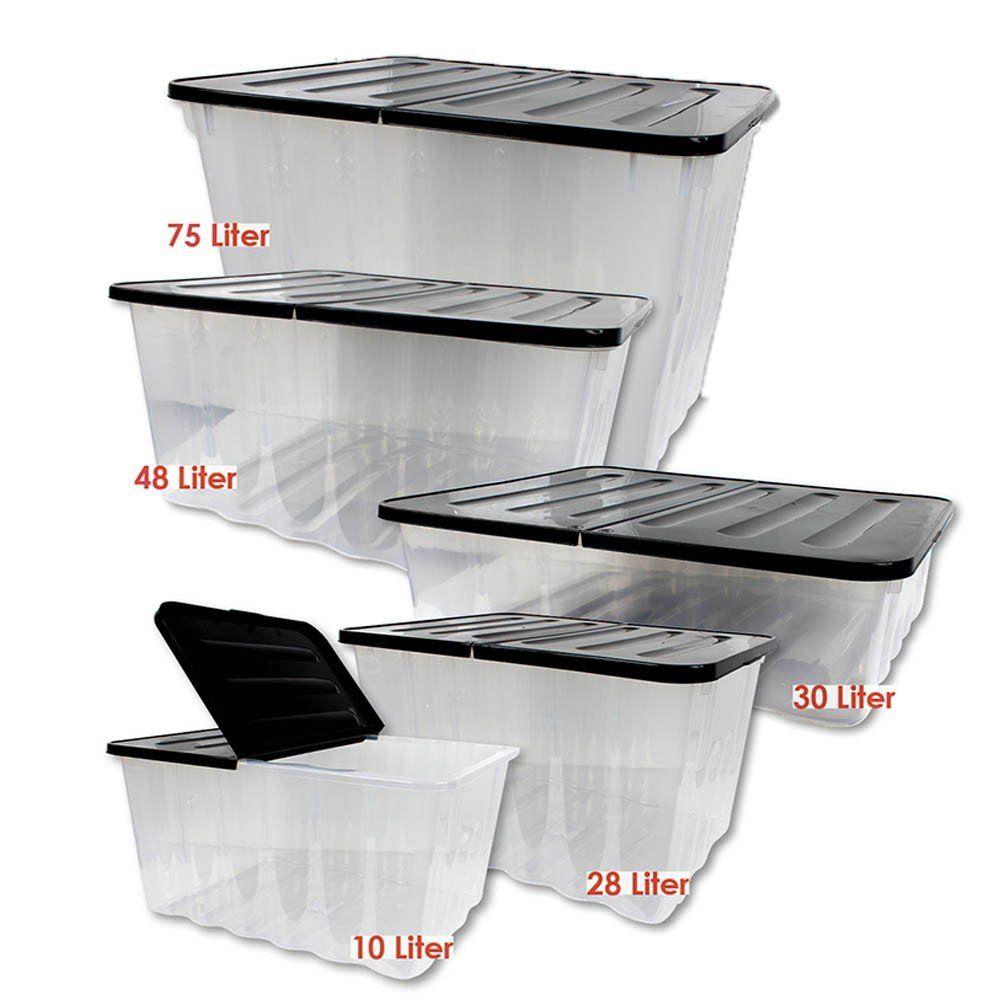 wave aufbewahrungs box mit klappbarem deckel 48l schwarz transparent stapelbar ebay. Black Bedroom Furniture Sets. Home Design Ideas
