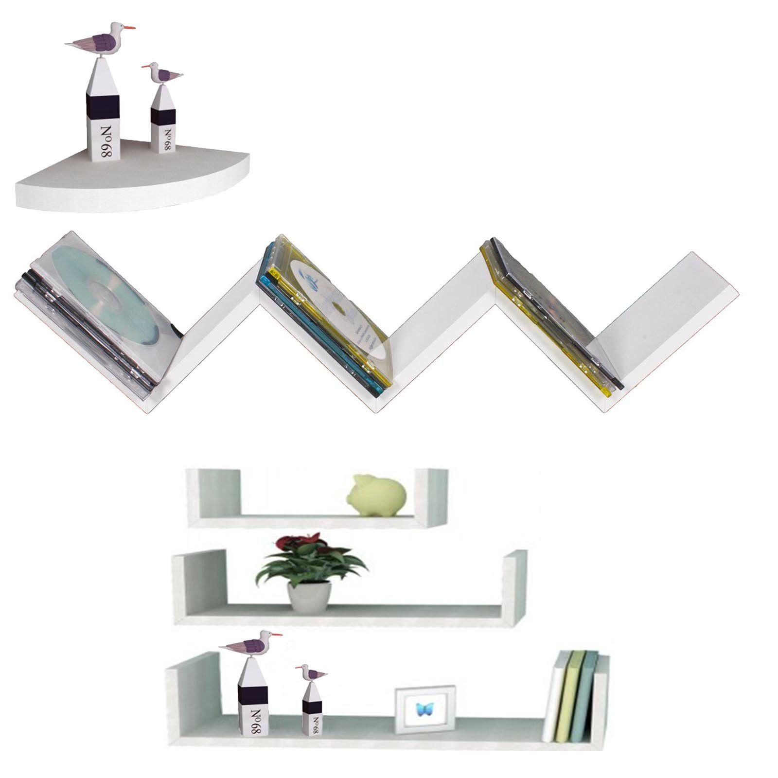 wandregal 3er set h ngeregal b cherregal wei holzregal. Black Bedroom Furniture Sets. Home Design Ideas