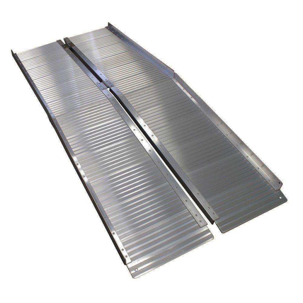 rollstuhlrampe 183 cm 272 kg klappbar alu auffahrrampe rollstuhl rampe aluminium ebay. Black Bedroom Furniture Sets. Home Design Ideas