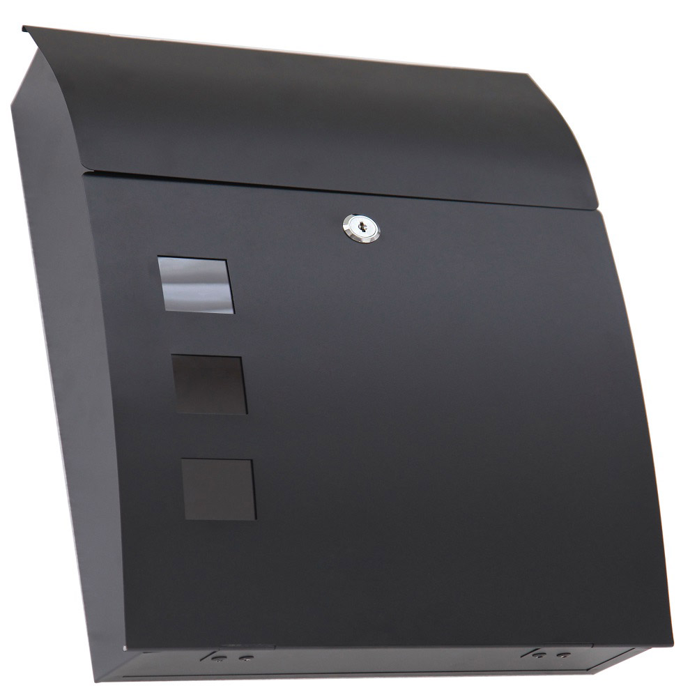 design briefkasten schwarz rund postkasten mailbox letterbox wandbriefkasten 63 ebay. Black Bedroom Furniture Sets. Home Design Ideas