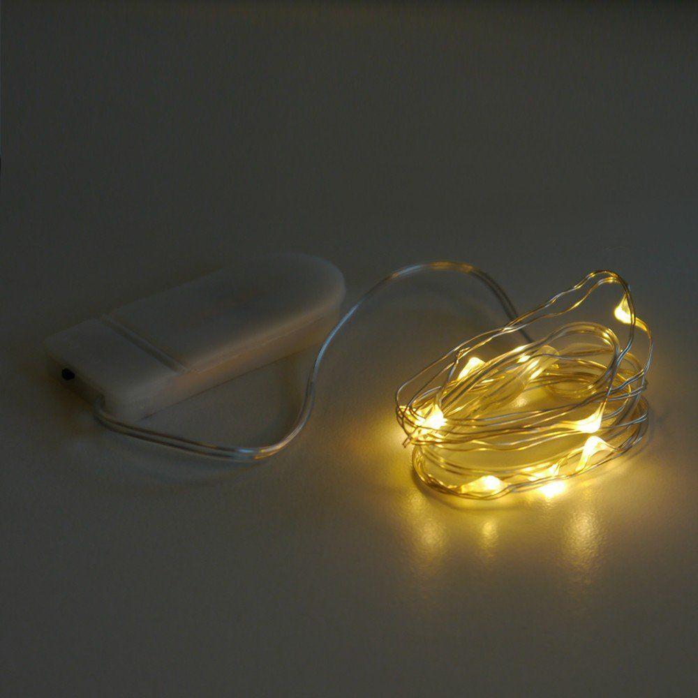 Led draht micro batterie lichterkette 10 leds warmwei for Led draht lichterkette