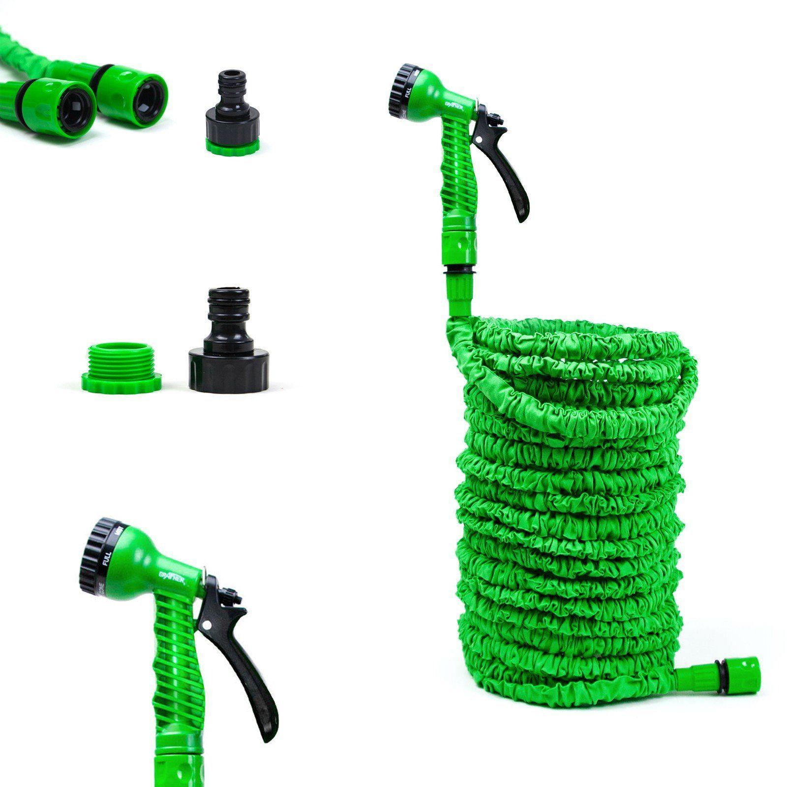 grafner dehnbarer gartenschlauch flexibler wasserschlauch 1 2 schlauch mit d se ebay. Black Bedroom Furniture Sets. Home Design Ideas