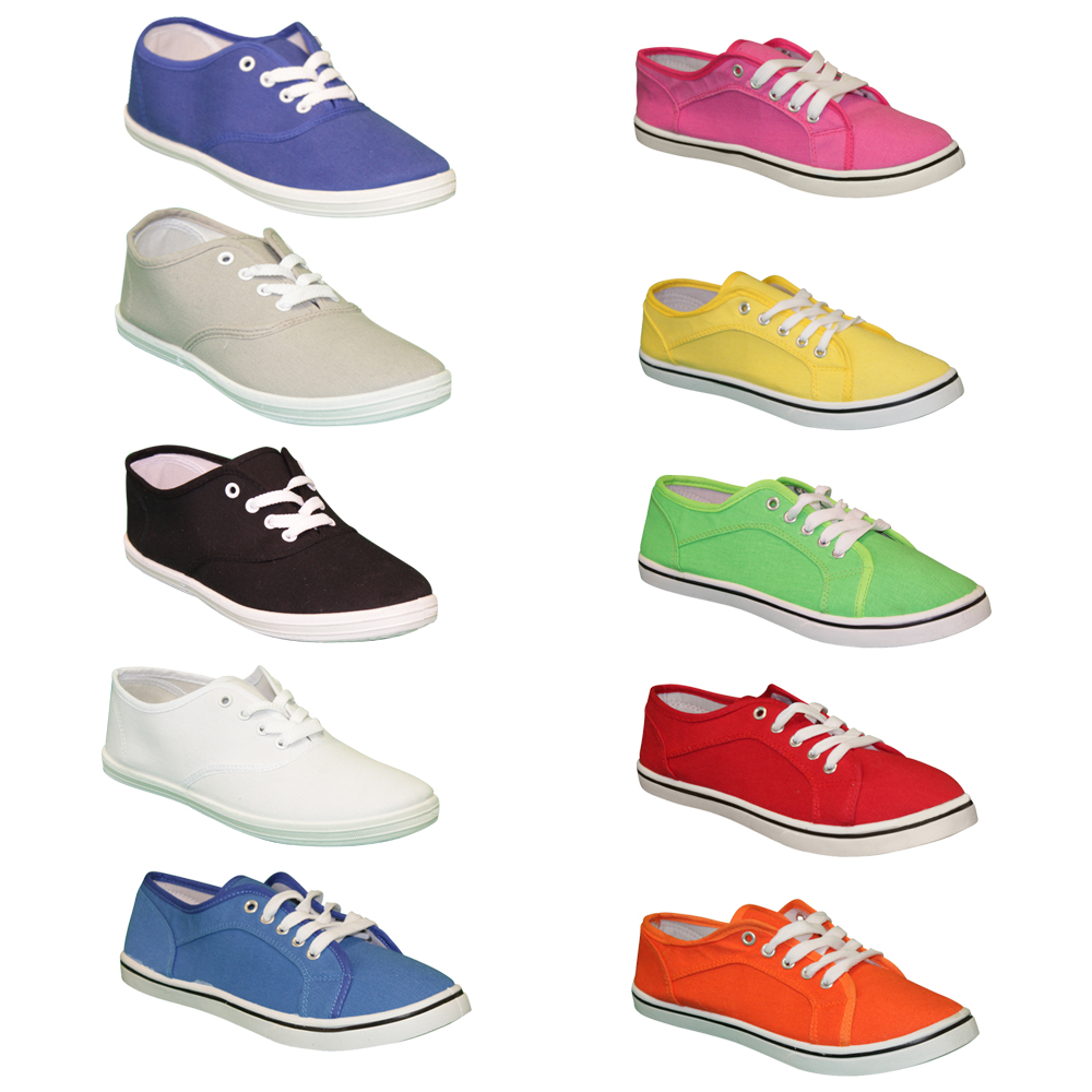 Damen-Leinen-Sneaker-Halbschuhe-Textil-36-41-Turnschuhe-Skater-Sport-Schuhe