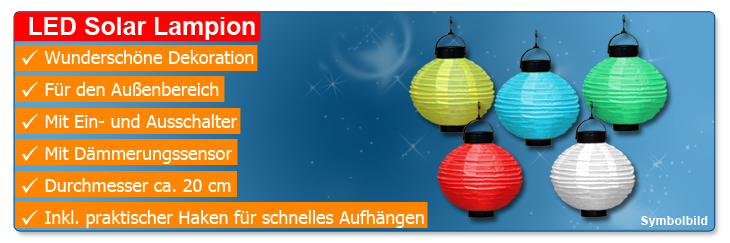 LED Solar Lampion 5er Set