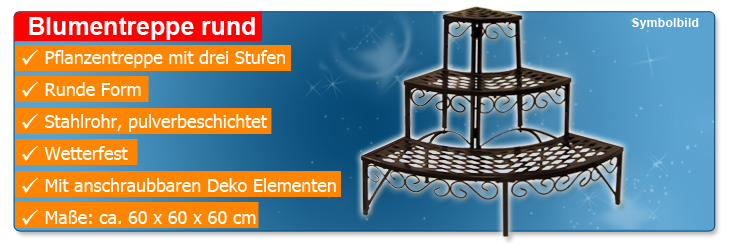 blumentreppe rund blumenregal blumenbank pflanzentreppe garten regal 3 stufen ebay. Black Bedroom Furniture Sets. Home Design Ideas