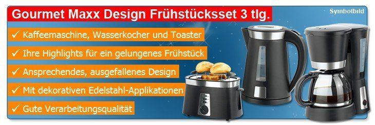 gourmet maxx design fr hst cksset 3tlg kaffeemaschine wasserkocher toaster. Black Bedroom Furniture Sets. Home Design Ideas