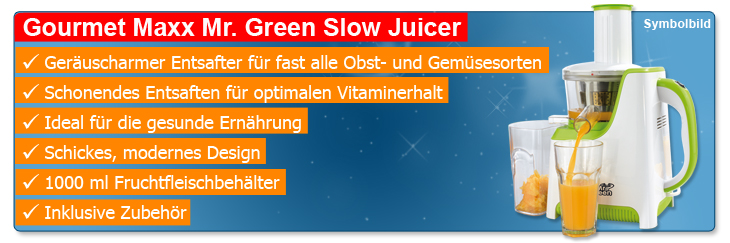 Mr Green Slow Juicer Entsafter : GOURMET MAXX MR. GREEN SLOW JUICER ENTSAFTER SAFTPRESSE OBSTPRESSE WEI? GRuN NEU eBay