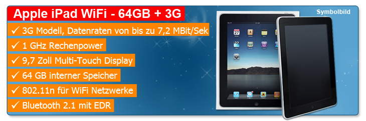 nd top 7955 Apple iPad 64 GB 3G + Wi Fi nur 499€ inkl. Versand