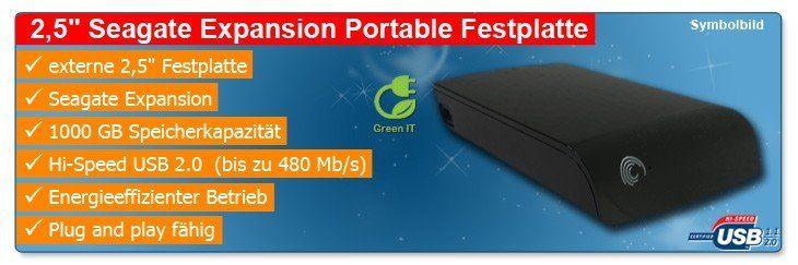 1 tb seagate expansion 1000 gb externe 2 5 usb 2 0. Black Bedroom Furniture Sets. Home Design Ideas