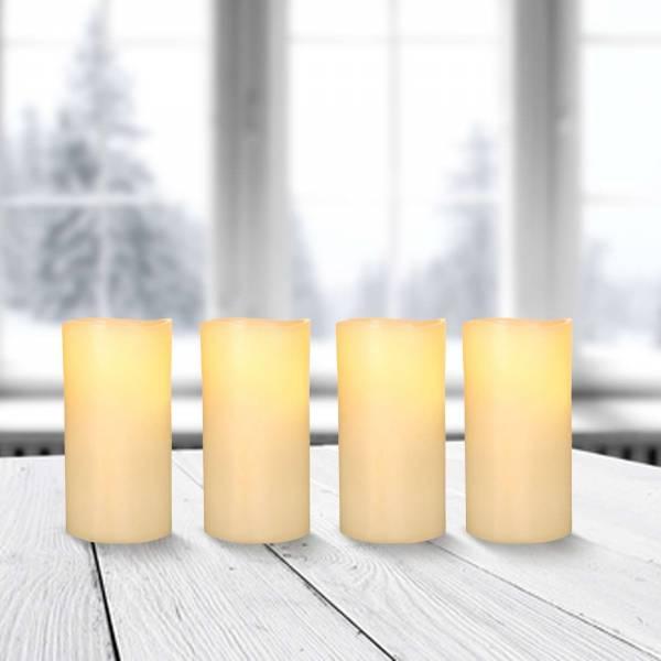 4x LED Adventskranz Kerzen Echtwachs Flackereffekt Ø 5cm Höhe 10cm