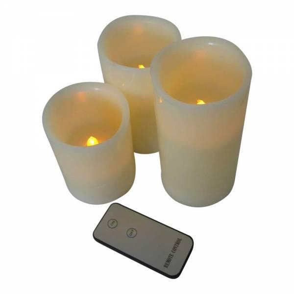3er Vorteilspack LED Echtwachskerzen mit Fernbedienung Ø 7,5cm Höhe 10cm / 12,5cm / 15cm
