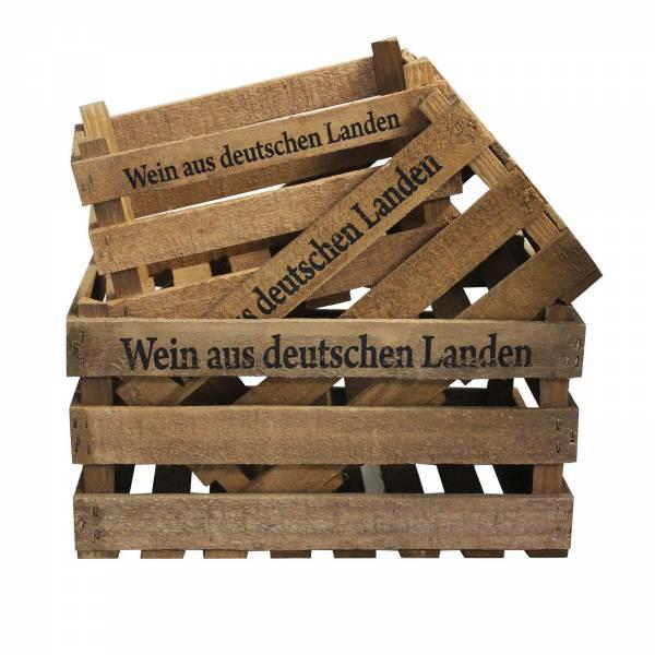 """3 Deko Holzkisten mit Aufzug """"Wein aus deutschen Lande"""" Weinkiste"""