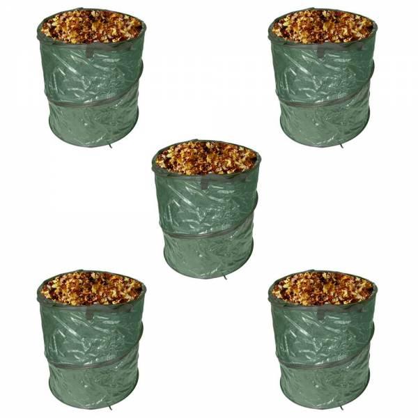 5er Set Pop-Up Gartenabfallsack 80 Liter Gartentasche rund Laubsack