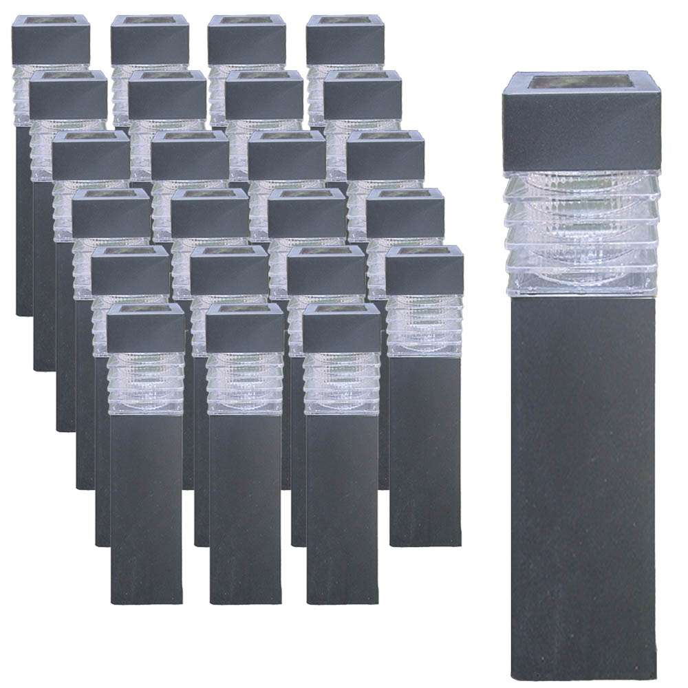 24er set grafner solar led gartenlampen eckig schwarz beleuchtung haushalt wohnen heuer gmbh. Black Bedroom Furniture Sets. Home Design Ideas