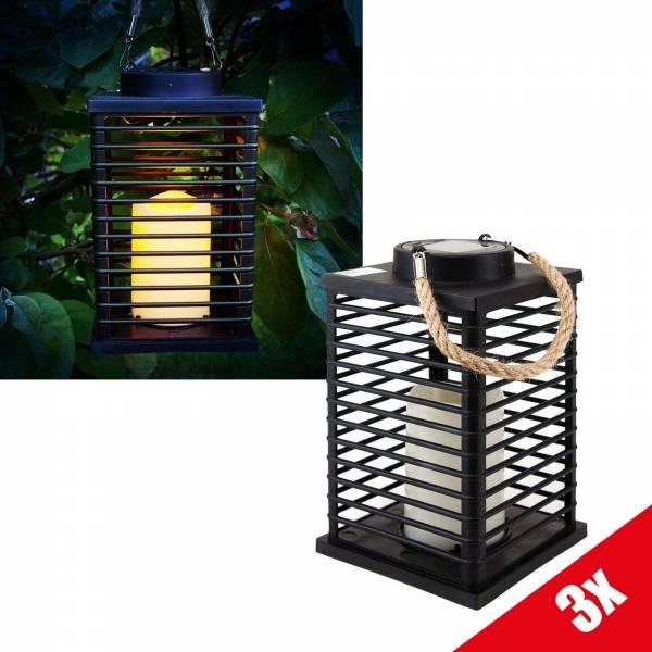 3er Set Grafner LED Solar Laterne mit Kerze 24cm Außen Windlicht mit Kordel