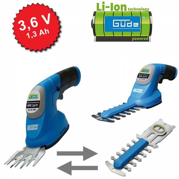 Güde Akku Gartenpflege Set GPS 3,6V LI-ION 2in1 Grasschere und Strauchschere Heckentrimmer