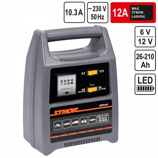 Sthor 6V/12V Batterieladegerät Automatik Batterielader 12A 210Ah