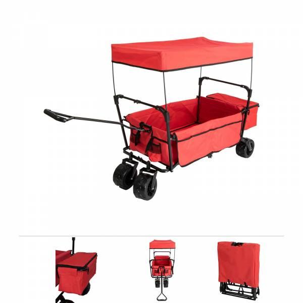 Grafner® Bollerwagen Modell Offroad schwarz/rot mit Dach