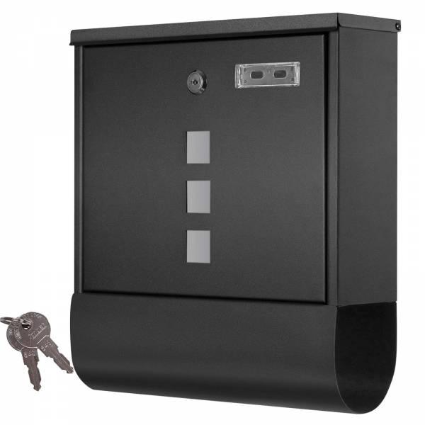 Grafner® Briefkasten mit Zeitungsrolle schwarz 3 Sichtfenster + Namensschild