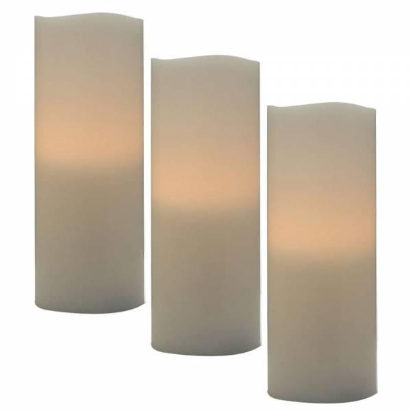 3er Vorteilspack LED Echtwachskerzen mit Ausblasfunktion Ø 7,5cm Höhe 15cm