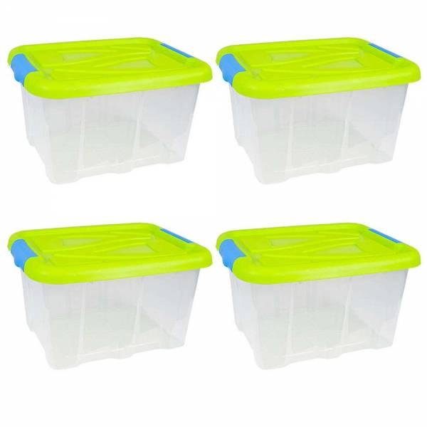 4er Set Stapelbox Barcelona 30 Liter mit Deckel grün stapelbar