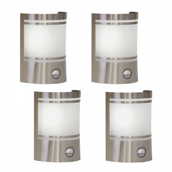 4er Set Grafner Edelstahl-Wandlampen mit Bewegungsmelder 153SQE27PIR WL10197