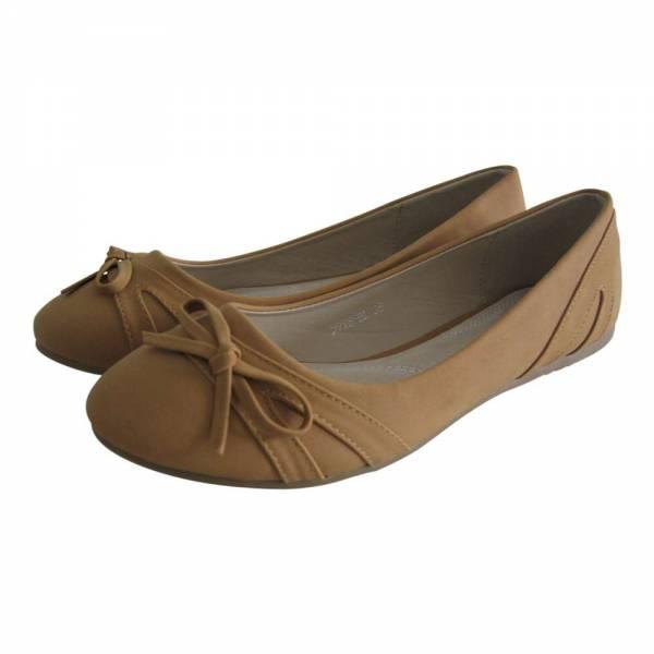 Damen Ballerina Schleife seitlich Größe: 39 / Farbe: Camel