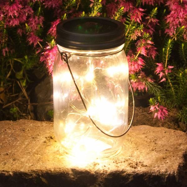 Grafner® LED Solarleuchte im Einmachglas mit 10 Micro Lichterkette Solarlaterne 13,5cm