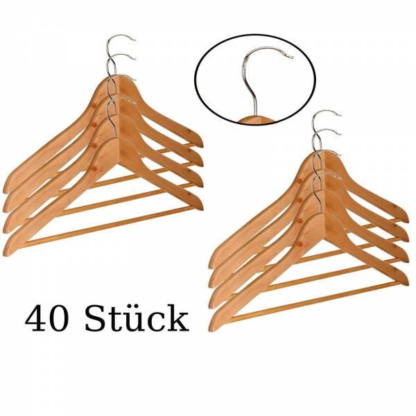 40 Stück Kleiderbügel aus Holz mit Hosenstange und Einkerbung für Träger