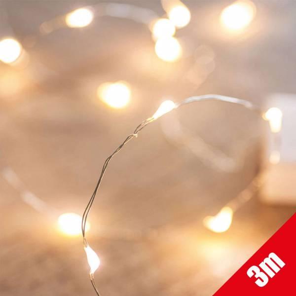 Micro LED Lichterkette 30 warmweiße LEDs auf 300cm Drahtlichterkette Leuchtdraht mit Mini-Tropfen