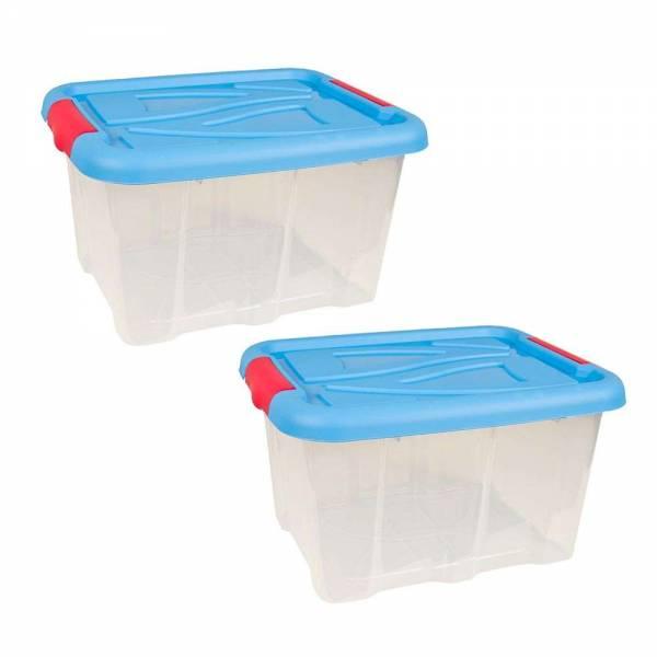 2er Set Stapelbox Barcelona 30 Liter mit Deckel blau stapelbar