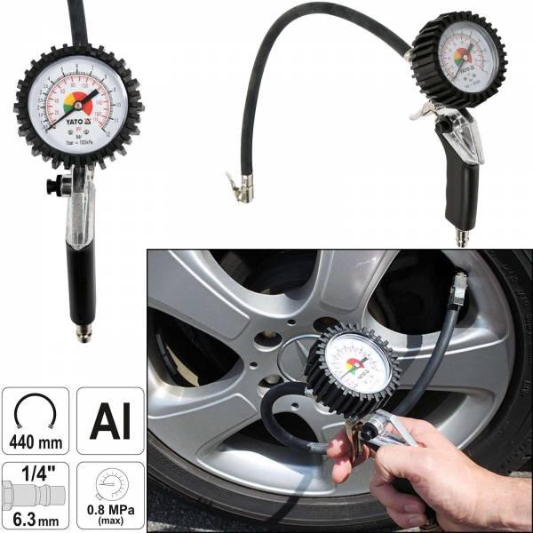 YATO Profi Druckluft Reifenfüller mit Manometer YT-2370