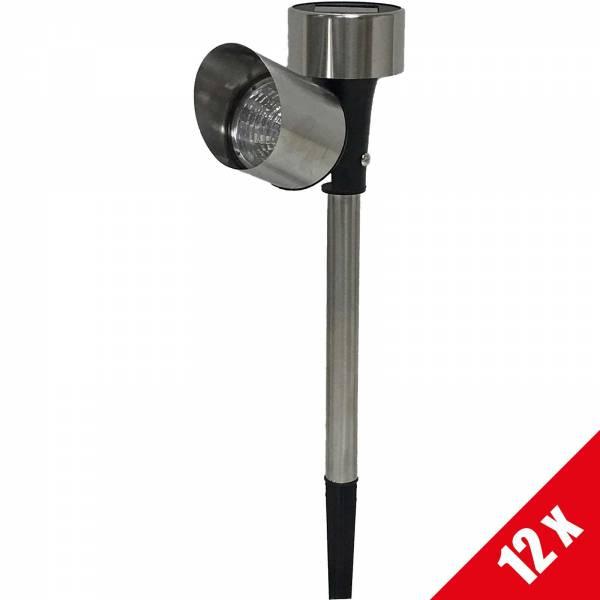 12er Set Grafner® Solar LED Pflanzenstrahler aus Edelstahl Solarstrahler mit Erdspieß 37cm