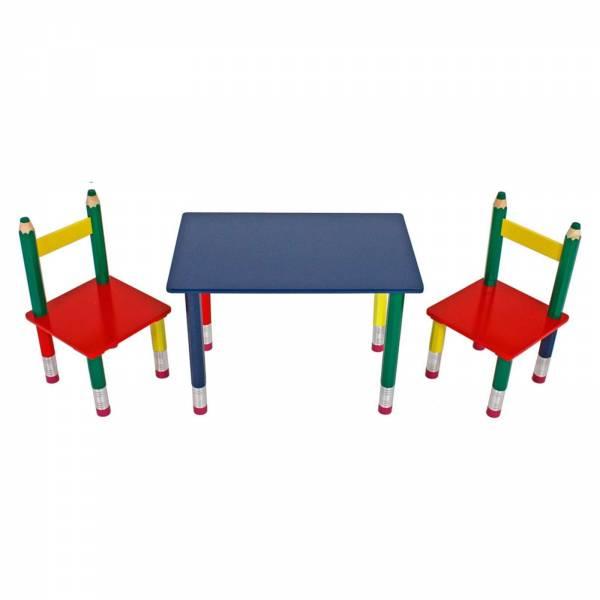 """Kindertischgruppe """"Bleistift"""", bunt, B 60 x H 42 x T 39, 1 Tisch & 2 Stühle 303990"""