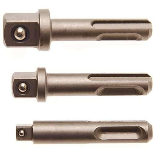 """BGS 8214 Adapter Set SDS Plus Außenvierkant 1/4"""" 3/8"""" 1/2"""" Steckschlüssel Einsatz Bohrmaschine"""