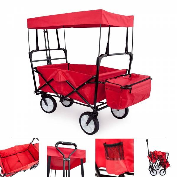 Grafner® Bollerwagen schwarz/rot mit Dach