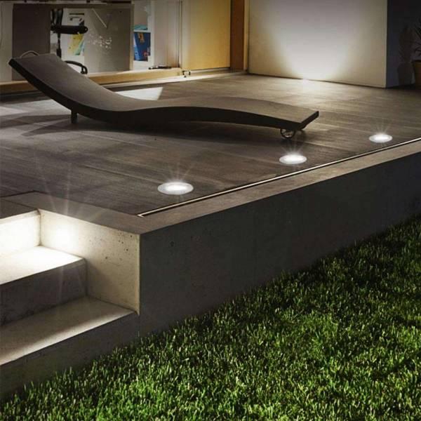 10er Set Grafner® Solar LED Bodenstrahler rund Bodenleuchte Einbaustrahler